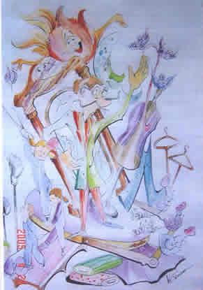 Boceto Falla Infantil 2006 - Lema: Trabajamos noche y dia - Autor: VICENTE GOMAR