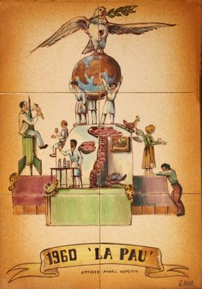 Boceto Falla Mayor 1960- Lema: La paz - Autor: Angel Azpentia