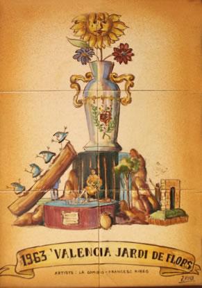 Boceto Falla Mayor 1963 - Lema: Valencia Jardin de Flores - Autor: Francesc Ribes
