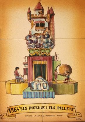 Boceto Falla Mayor 1964 - Lema: Los genios y los pillaos - Autor: Francesc Ribes