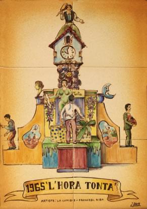 Boceto Falla Mayor 1965 - Lema: La hora Tonta - Autor: Francesc Ribes