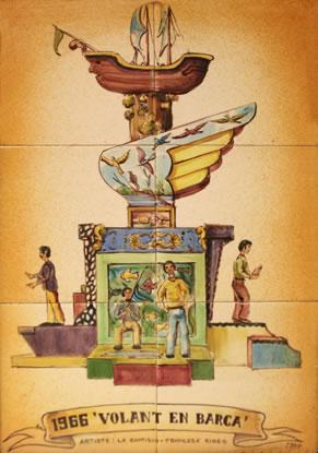 Boceto Falla Mayor 1966 - Lema: Volando en Barca - Autor: Francesc Ribes