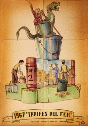 Boceto Falla Mayor 1967 - Lema: Tarifas de la Basura - Autor: Vicente Sancho