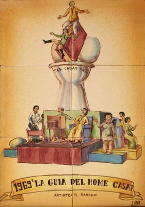 Boceto Falla Mayor 1969 - Lema: La guia del hombre casado - Autor: RAMON SANCHO
