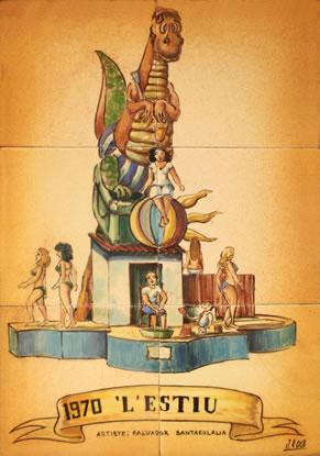 Boceto Falla Mayor 1970 - Lema: El verano - Autor: Salvador Santaeulalia