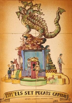Boceto Falla Mayor 1971 - Lema: Los 7 pecados capitales - Autor: Francesc Ribes