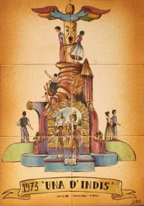 Boceto Falla Mayor 1973 - Lema: Una d'Indis - Autor: FRANCESC RIBES
