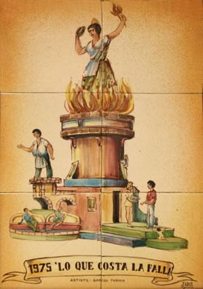Boceto Falla Mayor 1975 - Lema: Lo que costa la falla - Autor: Garcia Tormo