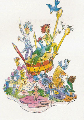 Boceto Falla Infantil 1979 - Lema: Los pollos de la musica - Autor: JOSE MERENCIANO LOPEZ