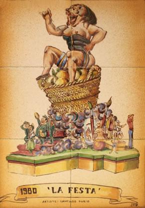 Boceto Falla Mayor 1980 - Lema: La fiesta - Autor: SANTIAGO RUBIO