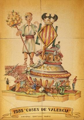 Boceto Falla Mayor 1983 - Lema: Cosas de Valencia - Autor: SANTIAGO RUBIO