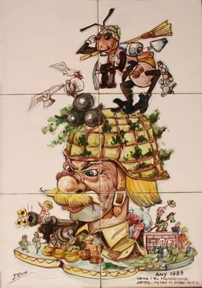 Boceto Falla Mayor 1989 - Lema: El miliarismo - Autor: Pedro M. Rodriguez